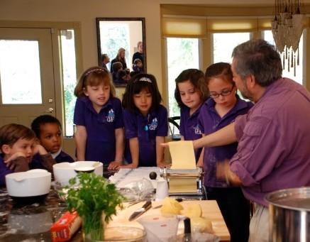 Giuliano Hazan teaching kindergarteners how to make pasta
